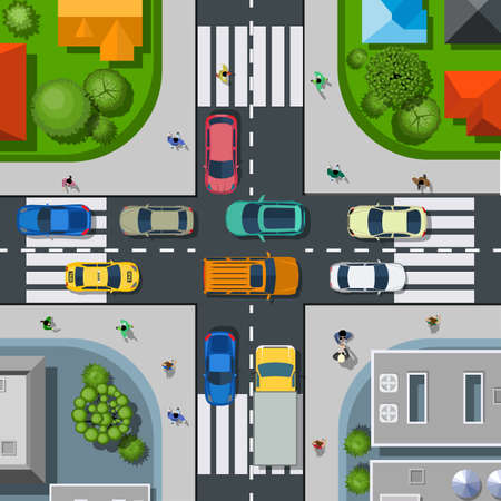 Top view of the city. Urban crossroads with cars and houses, pedestrians. Background town map pattern streets, intersection, roof and buildings. Vector illustration in flat style