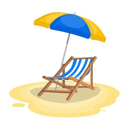 Ombrellone e lettino in spiaggia. Illustrazione vettoriale in stile piatto Vettoriali