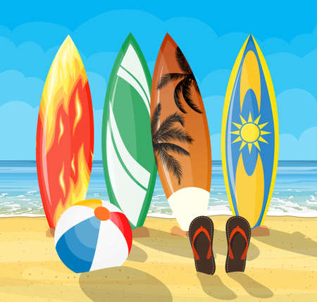 beach landscape with surf boards scene. Set of surfboards on a on tropical background. Vector illustration in flat style