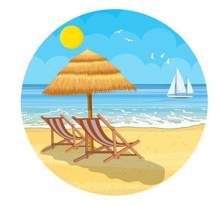 Paradiesstrand des Meeres mit Yachten und Palmen. Tropisches Inselresort. Vektorillustration im flachen Stil