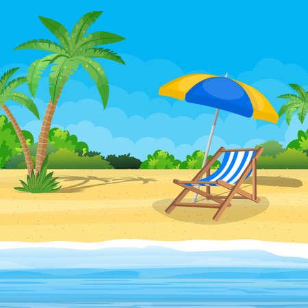 Paisaje de chaise lounge de madera, palmera en la playa. Sombrilla. Día en lugar tropical. Ilustración de vector de estilo plano
