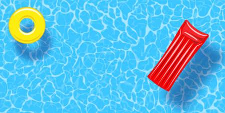 Fond de vue de dessus de piscine. Anneau en caoutchouc et radeau flottant sur l'eau. Modèle d'affiche de vecteur coloré pour les vacances d'été. Bonjour bannière web d'été. Illustration vectorielle dans un style plat