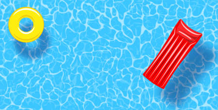 Swimming pool top view background. Rubber ring and raft floating on water. Colorful vector poster template for summer holiday. Hello summer web banner. Vector illustration in flat style