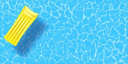 Fond de vue de dessus de piscine. Radeau en caoutchouc flottant sur l'eau. Modèle d'affiche de vecteur coloré pour les vacances d'été. Bonjour bannière web d'été. Illustration vectorielle dans un style plat