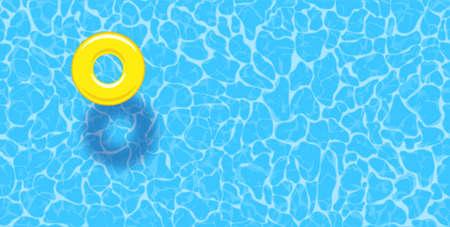 Fondo di estate della piscina di acqua con l'anello giallo del galleggiante della piscina. Modello di manifesto vettoriale colorato per le vacanze estive. Ciao banner web estivo. Illustrazione vettoriale in stile piatto