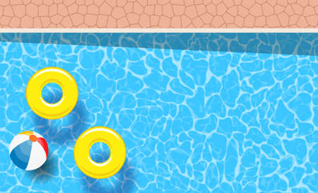two pool rings and ball floating in a swimming pool Ilustração