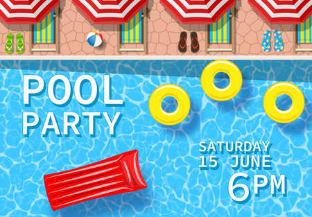 Pool party invitation with top view of pool
