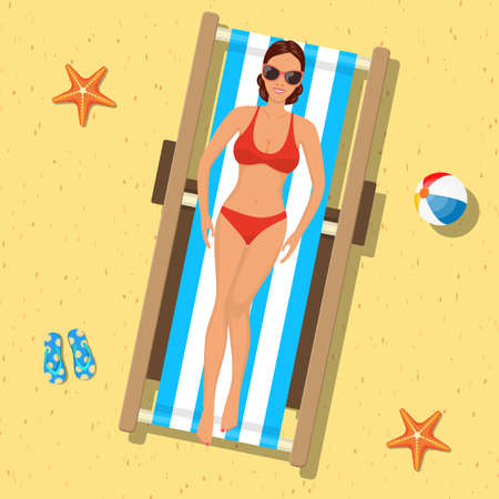 girl sunbathing on a deckchair.