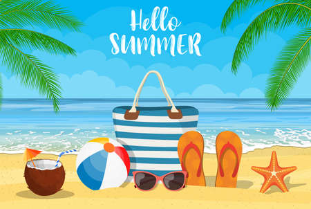 Summer accessories for the beach. Bag, sunglasses, flip flops, starfish, ball. Against the background of the sun the sea and palm trees. Vector illustration in flat style