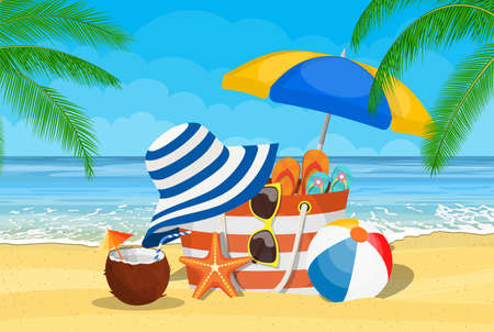 Summer accessories for the beach. Bag, sunglasses, flip flops, starfish, ball, Umbrella . Against the background of the sun the sea and palm trees. Vector illustration in flat style
