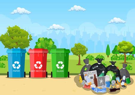 Garbage dump in park.