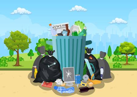 Garbage dump in park. Banque d'images - 126605272