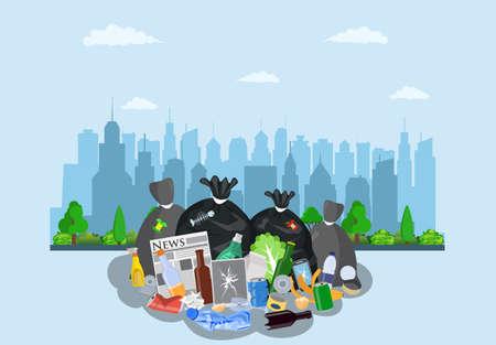 Steel garbage bin full of trash. Vektorgrafik