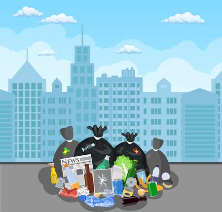 Steel garbage bin full of trash. Illustration
