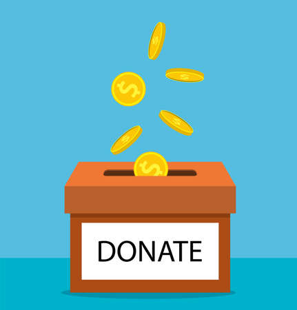 donation concept. Donate money with box Business, finance. coins depositing in a carton box. Vector illustration in flat style Illustration