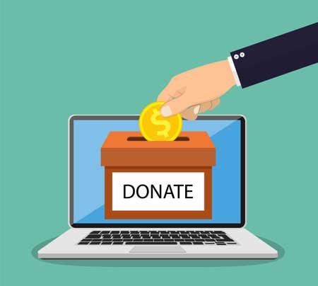 Donate online concept. 向量圖像