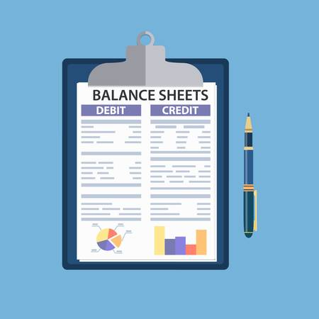 Clipboard with balance sheet and pen.