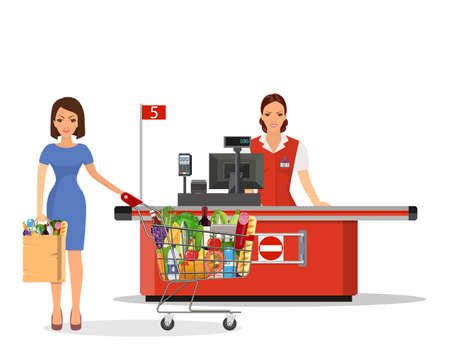 People Shopping in supermarket. Stock Vector - 130097564