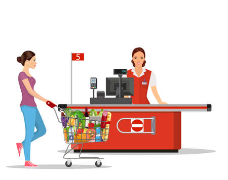 People Shopping in supermarket. Stock Vector - 130097559