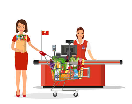 People Shopping in supermarket. Stock Vector - 130097562