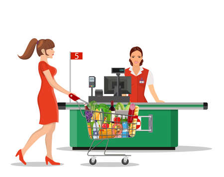 People Shopping in supermarket. Stock Vector - 130097565