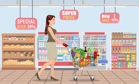 Young woman shopping for groceries Vector Illustration