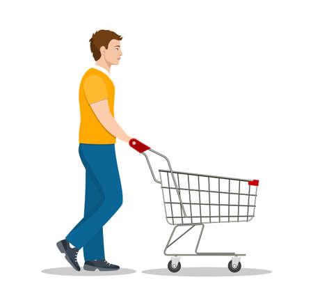 man pushing supermarket shopping cart. isolated on white background. Vector illustration in flat style Ilustração Vetorial