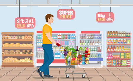 Young man shopping for groceries Stock Vector - 130097570