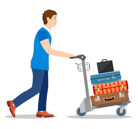 man with luggage trolley in airport. Travel concept. Vector illustration in flat style Stock Vector - 127656531