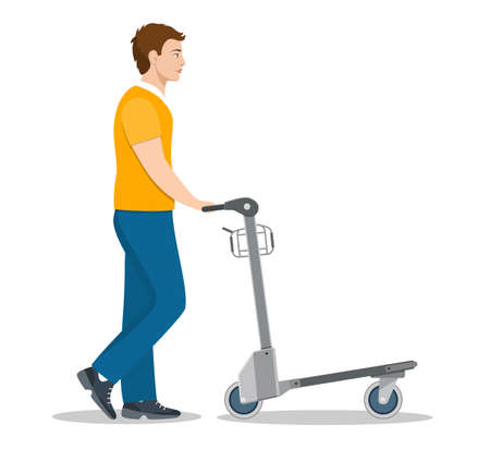man pushing luggage cart with suitcases. male passenger in airport. male tourist with baggages arrival or departure. Vector illustration in flat style