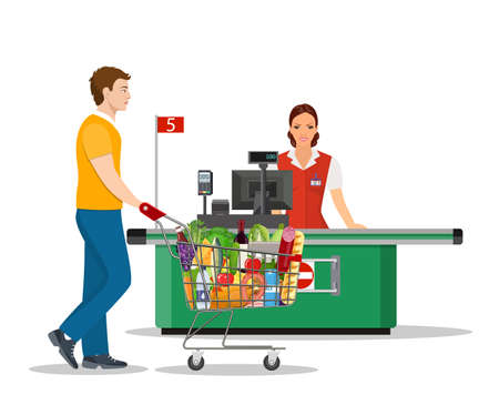 People Shopping in supermarket. Stock Vector - 130097571