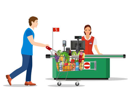 People Shopping in supermarket. Stock Vector - 130097574