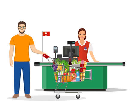 People Shopping in supermarket. Stock Vector - 130097575