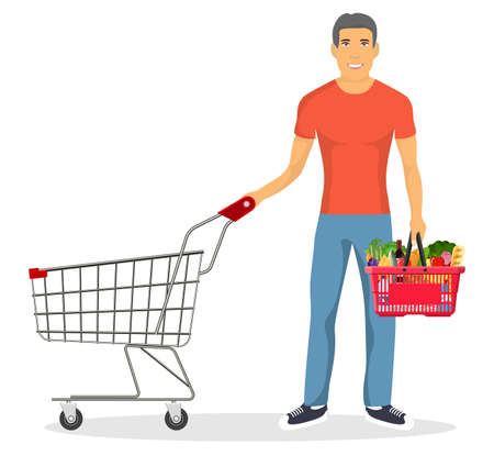 shopping man with a cart Stock Vector - 130097576