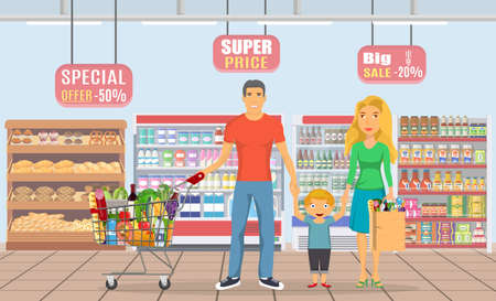family shopping characters set, Illustration