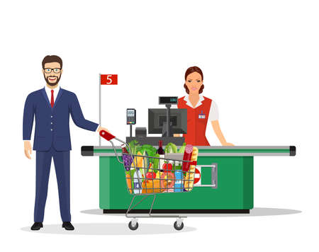 People Shopping in supermarket. Stock Vector - 130097797