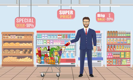 Young man pushing supermarket Illustration