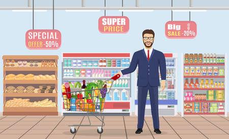 Young man pushing supermarket Stock Vector - 130097798
