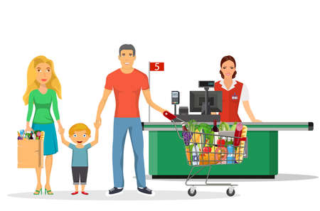 family shopping characters set, Stock Vector - 130097795