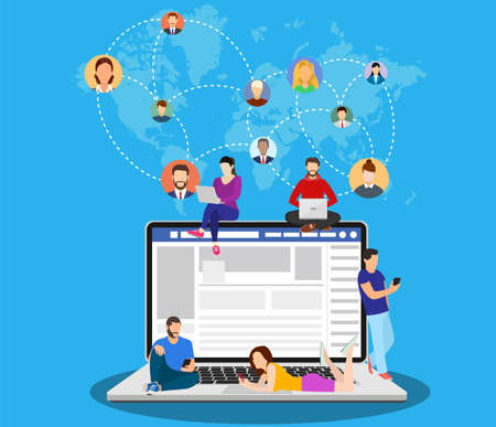 Social network web site surfing concept, people connecting all over the world. Vector illustration in flat style