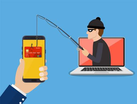 Internet phishing and hacking attack concept. Ilustracja