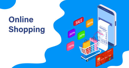 Isometric Smart phone online shopping concept.