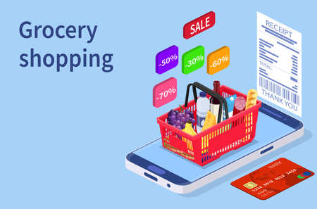 Grocery shopping online concept. Çizim