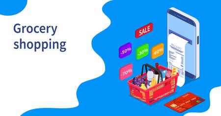 Grocery shopping online concept. Illusztráció