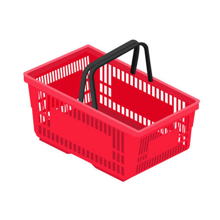 Shopping basket in supermarket and store