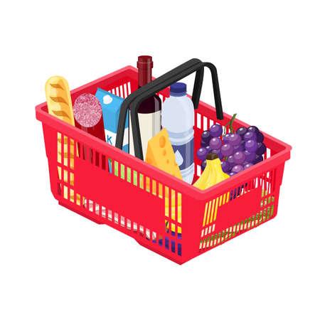 Isometric red plastic shopping basket Illustration
