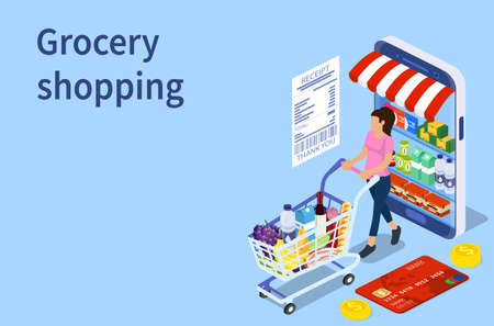 Customer buying in online grocery store Illustration