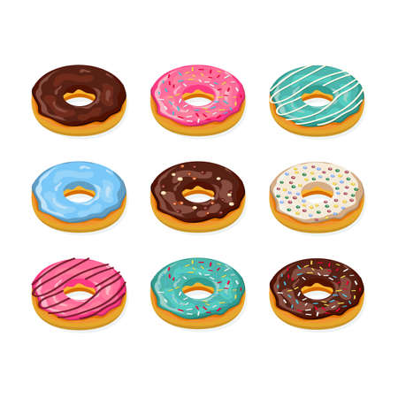 Set of cartoon colorful donuts isolated on white background. Donut isometric icon, concept unhealthy food, fast foods for menu design, cafe decoration, delivery box. vector illustration in flat style