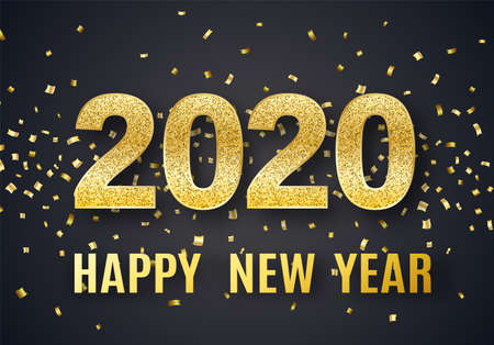 2020 Happy New Year vector background with big golden glitter numbers, shiny confetti. Christmas celebrate design. Festive premium concept template for holiday Ilustrace