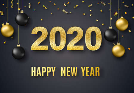 2020 New Year background for holiday greeting card, invitation, party flyer, poster, banner. Gold ball, confetti on black background.